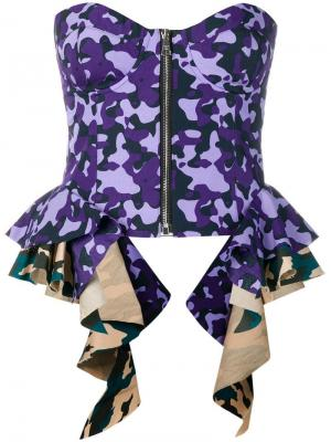 Топ-корсет с камуфляжным принтом Natasha Zinko. Цвет: фиолетовый