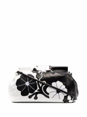 Клатч с цветочной вышивкой Ermanno Scervino. Цвет: черный