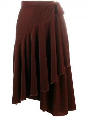LAutre Chose юбка миди с завышенной талией и складками L'Autre. Цвет: коричневый