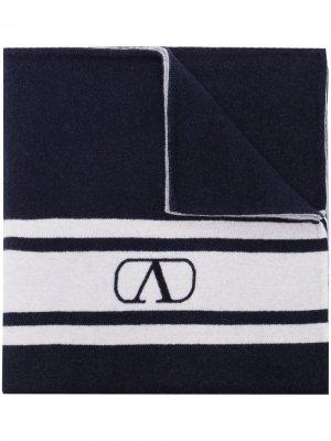 Шаль в полоску с логотипом VLogo Valentino. Цвет: синий