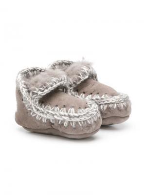 Ботинки слипоны Mou Kids. Цвет: серый