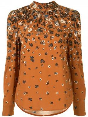 Блузка с цветочным принтом Veronica Beard. Цвет: коричневый