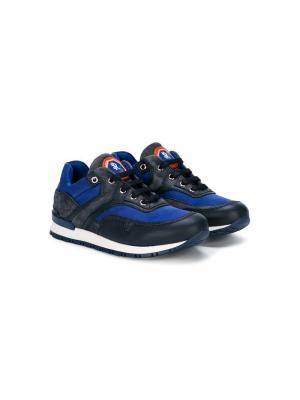 Кроссовки на шнуровке с панельным дизайном Stefano Ricci Kids. Цвет: синий