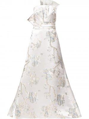 Жаккардовое платье без бретелей Tadashi Shoji. Цвет: белый