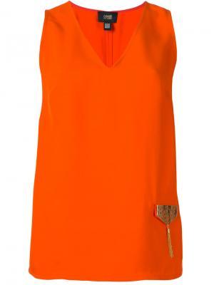 Блузка с отделкой металлик Cavalli Class. Цвет: оранжевый