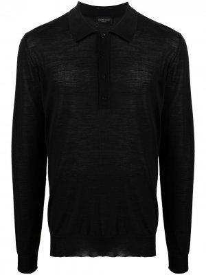 Рубашка поло с длинными рукавами Roberto Collina. Цвет: черный