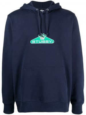 Худи с вышитым логотипом Stussy. Цвет: синий