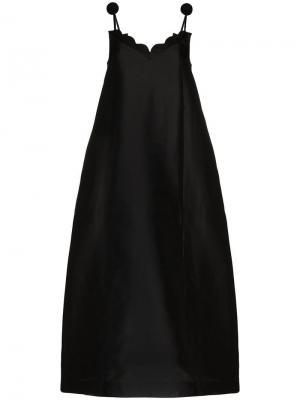 Платье с волнистыми краями и помпонами Vika Gazinskaya. Цвет: черный