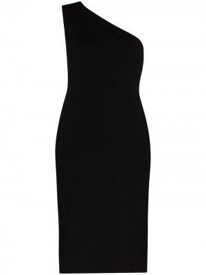 Платье миди на одно плечо Bottega Veneta. Цвет: черный