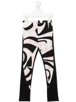 Легинсы с абстрактным принтом Emilio Pucci Junior. Цвет: черный