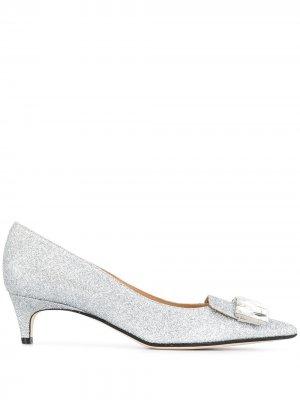 Декорированные туфли-лодочки с заостренным носком Sergio Rossi. Цвет: серебристый