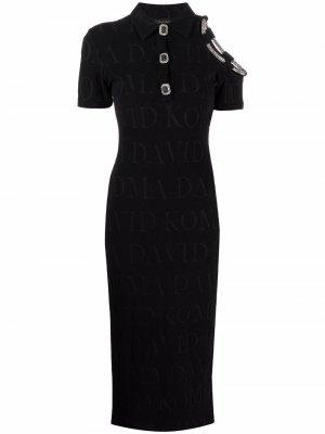Платье с открытыми плечами и кристаллами David Koma. Цвет: черный