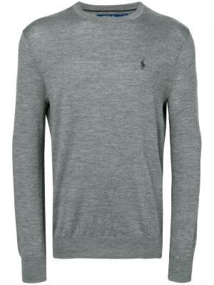 Приталенный свитер Polo Ralph Lauren. Цвет: серый