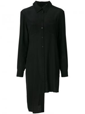 Платье-рубашка с асимметричным подолом Marios. Цвет: чёрный