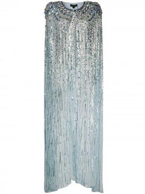 Длинный декорированный кейп Jenny Packham. Цвет: синий