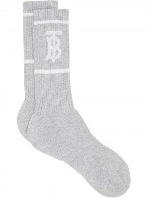 Носки TB с вязки интарсия Burberry. Цвет: серый
