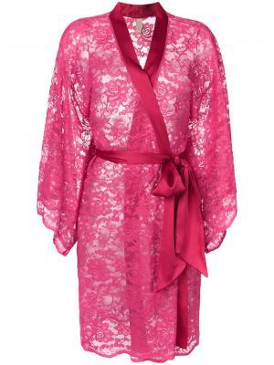 Халат с цветочной вышивкой Dolci Follie. Цвет: розовый