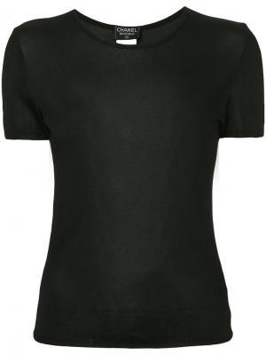 Топ с короткими рукавами и логотипом Chanel Vintage. Цвет: черный