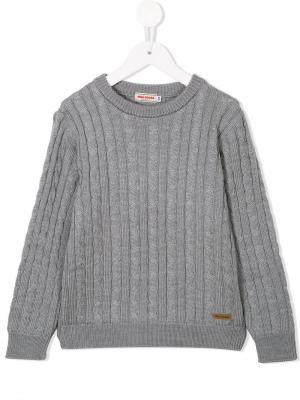 Вязаный свитер с круглым вырезом Miki House. Цвет: серый
