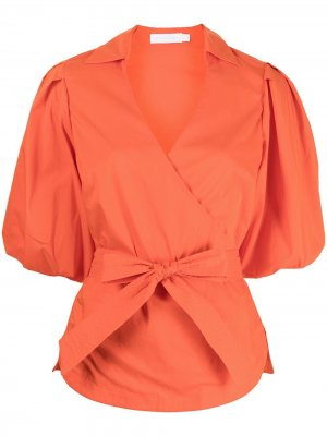 Блузка с пышными рукавами Jonathan Simkhai. Цвет: оранжевый