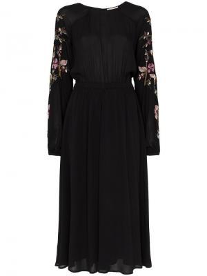 Floral sequin embellished midi dress By Timo. Цвет: черный