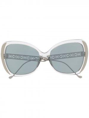 Солнцезащитные очки 061/GS в массивной оправе Elie Saab. Цвет: серый