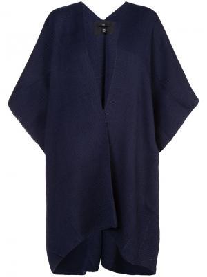 Триктажное пончо Voz. Цвет: синий