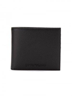Бумажник с тисненым логотипом Emporio Armani. Цвет: черный