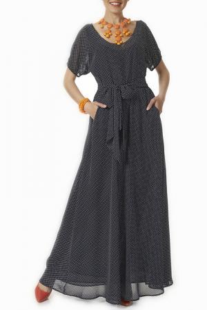Платье Argent. Цвет: темно-синий, белый горошек