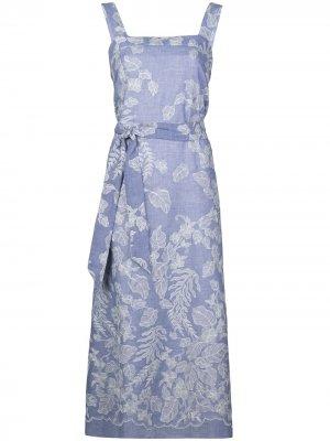 Платье с принтом и поясом Natori. Цвет: синий