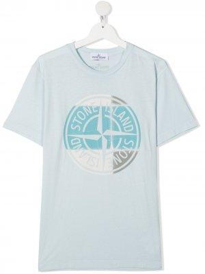 Футболка с логотипом Stone Island Junior. Цвет: синий