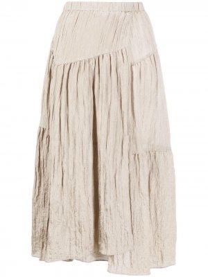 Ярусная юбка миди с жатым эффектом Vince. Цвет: нейтральные цвета