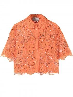 Рубашка из цветочного кружева Ermanno. Цвет: оранжевый