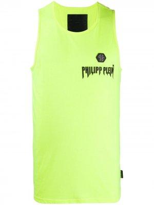Топ без рукавов с нашивкой-логотипом Philipp Plein. Цвет: желтый