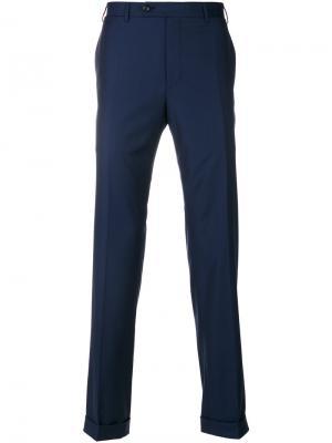 Классические брюки Super 150 Canali. Цвет: синий