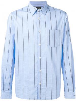 Рубашка на пуговицах в полоску A.P.C.. Цвет: синий