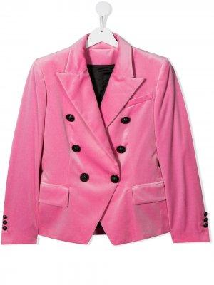 Приталенный двубортный пиджак Balmain Kids. Цвет: розовый