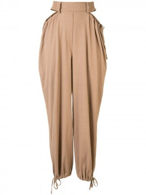 Зауженные брюки с завязками и сборками Dion Lee. Цвет: коричневый