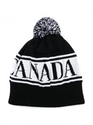 Трикотажная шапка с логотипом вязки интарсия Canada Goose Kids. Цвет: черный