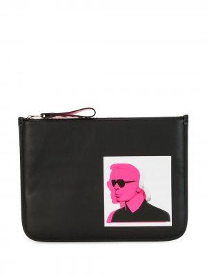 Косметичка с логотипом Karl Lagerfeld. Цвет: черный
