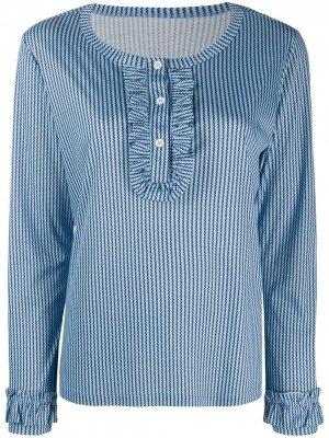 Пижамный топ с оборками и принтом Viktor & Rolf. Цвет: синий