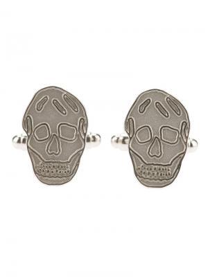 Запонки с черепом Alexander McQueen. Цвет: металлический