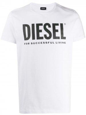 Футболка с логотипом Diesel. Цвет: белый