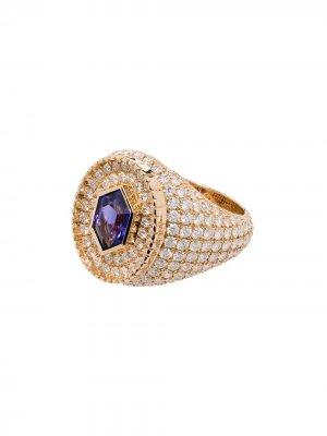 Кольцо Fancy Cut из желтого золота с танзанитом и бриллиантами O Thongthai. Цвет: золотистый