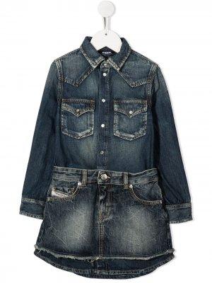 Джинсовое платье с необработанными краями Diesel Kids. Цвет: синий