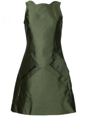 Приталенное платье симметричного кроя Antonio Berardi. Цвет: зеленый