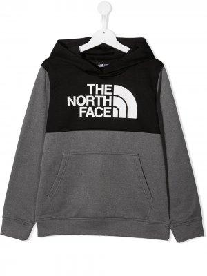 Худи со вставками и логотипом The North Face Kids. Цвет: серый
