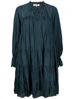 Ярусное платье-трапеция Sea. Цвет: зеленый