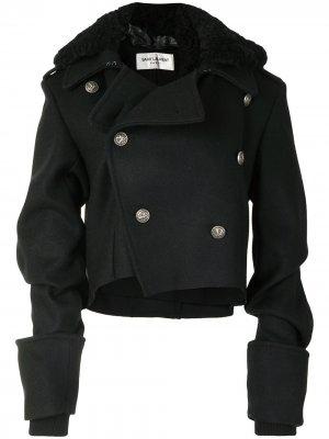 Двубортное пальто с фактурным воротником Yves Saint Laurent Pre-Owned. Цвет: черный