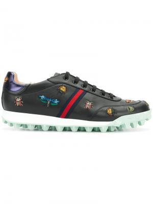 Кроссовки Yell с вышивкой Gucci. Цвет: черный